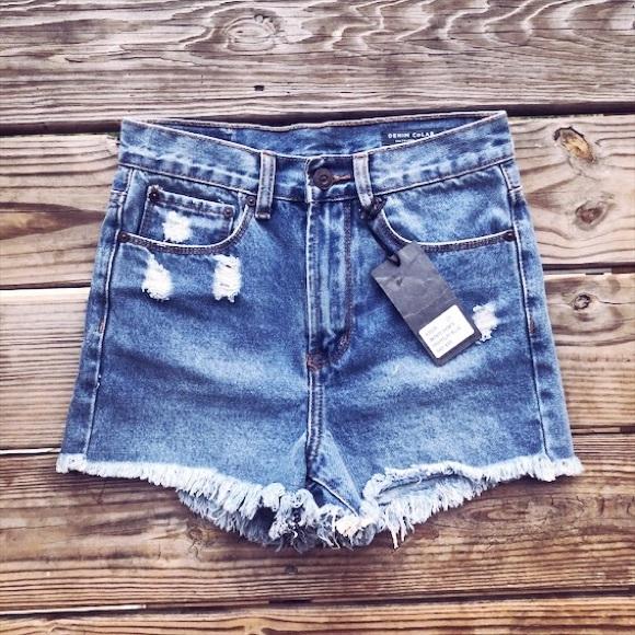 315018a9b2 Denim CoLAB Shorts | Aus High Rise Distressed Denim | Poshmark